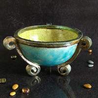 Vase / cauldron raku ceramic classic shape - ceremonial