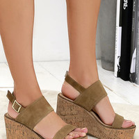 Steve Madden Caytln Sand Suede Leather Platform Sandals