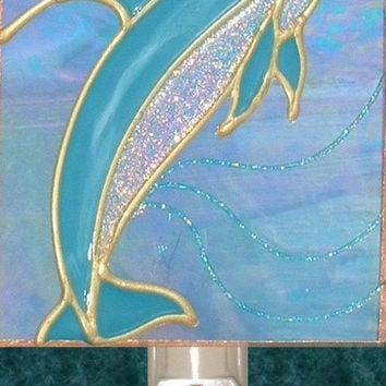 Artisan Made Stained Glass Dolphin Night Light Beach Bathroom Ocean Seaside Wall Decor Hand Painted Sea and Ocean Art Decorative Nightlight