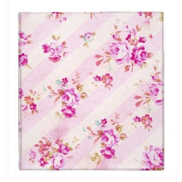 Trendy Shabby Chic Stripes Pink Roses Pattern 3 Ring Binders from Zazzle.com