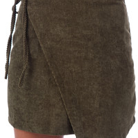 HELIX WRAP MINI SKIRT // KHAKI