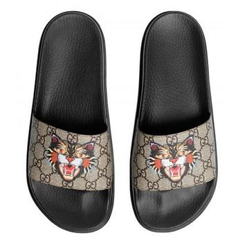 GUCCI GG rubber sandal slippers supreme CAT ANGRY 474282 9A400 8919