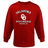 Oklahoma Sooners Youth Arch Fade Long Sleeve T-Shirt - Crimson - http://www.shareasale.com/m-pr.cfm?merchantID=7124&userID=1042934&productID=520941599 / Oklahoma Sooners