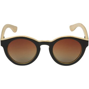 Black Bamboo Wood Sunglasses with Round Frame