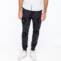 Crash Bandana Print Mens Cargo Jogger Pants Black/Blue  In Sizes