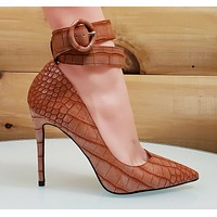 CR Armor Snake Textured Pumps Ankle Strap High Heel Shoes Rusty Brown