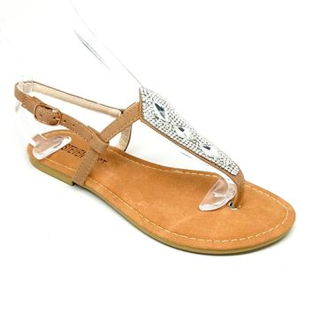 Women's Camel Sandal with Rhinestones