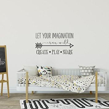 WonderWallzStore Let Your Imagination Run Wild Wall Decal Motivational Quote - Create Play Share Playroom Wall Decal - Children Wall Decals Playroom Decor