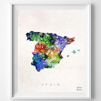 Spain Map, Watercolor, Home Town, Poster, art, Madrid, Country, Wall Decor, Nursery, Painting, Bedroom, Living Room, world map [NO 448]