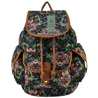 Cute Canvas Girls Backpacks for School Floral Print Book Bags