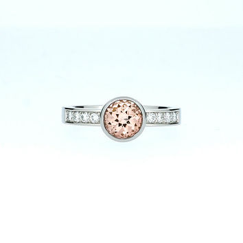 Peach Morganite engagement ring, bezel, diamond ring, white gold engagement, peach morganite, diamond engagement, solitaire, rose gold ring