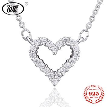 Ladies Simple Sterling Silver Hollowed Out Zircon Heart Necklace