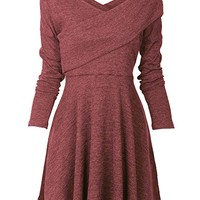 Womens Long Sleeve Knitted Sweater Pullover Swing Solid Slim Fit Wrap Midi Dress