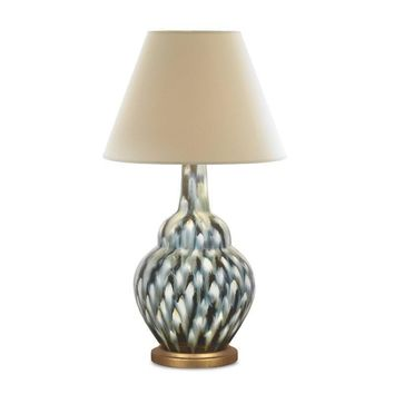 Bunny Williams Pheasant Feather Table Lamp | Blue