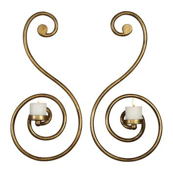 Lucetta Antiqued Gold Scroll Candle Wall Sconces - Set of 2 by Uttermost