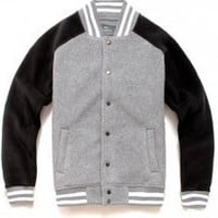 Grey Black Mens Varsity Baseball Jacket On Sale
