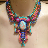 BLOOMING pink, turquoise, orange, blue and pink painted rhinestone bib necklace