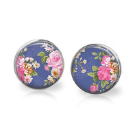 Elegant Floral Post Earrings Royal Blue and Pink Rose Shabby Glass Studs Spring 2014 Trends Summer Floral Print Chic Nature Summer Jewelry