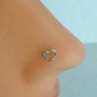 Heart Nose Ring Nose Stud Sterling Silver
