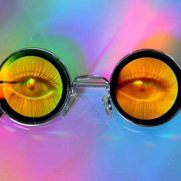 Evil EYE Hologram Glasses, Eye of enchantment Holographic Circle Vintage 70s Glasses
