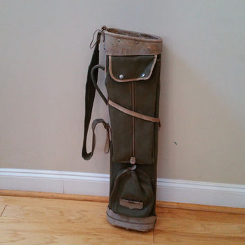 Vintage Canvas and Leather Army Olive Drab Green Stovepipe Golf Bag