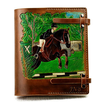 Custom Personalized Leather Horse Journal Notebook Diary 7x9 Gift Journal TiVergy Book