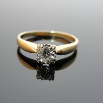 Old European Cut Diamond in SImple Vintage Engagement Ring RGDI210D