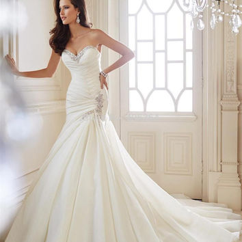 2014 New Design Sweetheart White Wedding Dress With Beaded Elegant Back Lace Up Mermaid Bridal Dress Long Court Train
