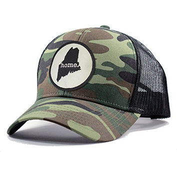 Homeland Tees Men's Maine Home State Army Camo Trucker Hat - Black