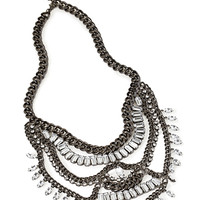 FOREVER 21 Chain & Rhinestone Statement Necklace Gunmetal/Clear One