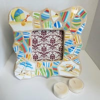 glass mosaic picture frame - rainbow china - beach - scalloped frame - tan grout  - scalloped photo frame