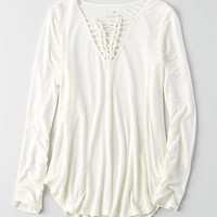 AEO Soft & Sexy Knotted T-Shirt , Chalk
