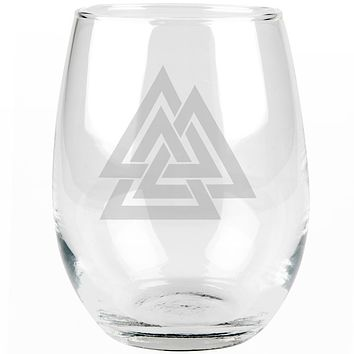 Viking Valknut Odin Symbol Etched Stemless Wine Glass
