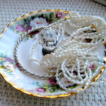 Jewelry display organizer,  old english rose vintage china dish with gorgeous clear diamond shaped glass knob