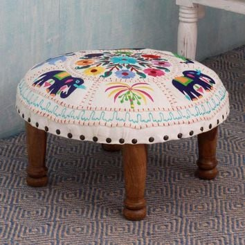 Colorful Global Bohemian Floral Elephant Hand Knit Stool Footrest