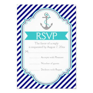 Navy blue, aqua anchor nautical wedding RSVP Custom Invite from Zazzle.com