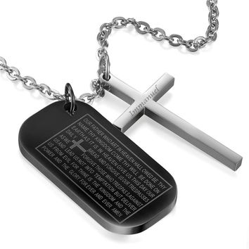 SHIPS FROM USA Stainless Steel Cross Pendant & Necklace For Men/Women Bible Dog Tag Chain Religious Christian Jewelry Christmas Gifts