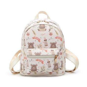 Girls bookbag THINKTHENDO Women Leather Lovely Printing Backpacks Feminine Girl Small Backpack Student Girls School Bags Bookbag Shoulder Bag AT_52_3