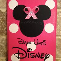 Bright Pink Minnie, with Bow, Disney World Vacation Chalkboard Countdown Calendar READY TO SHIP