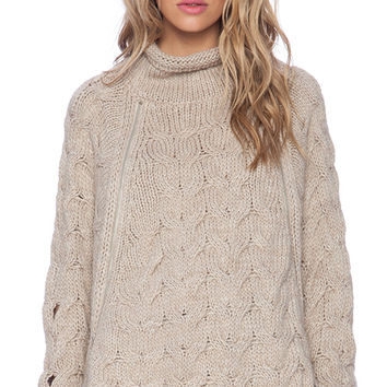 Free People Cable Zipper Cape in Tan
