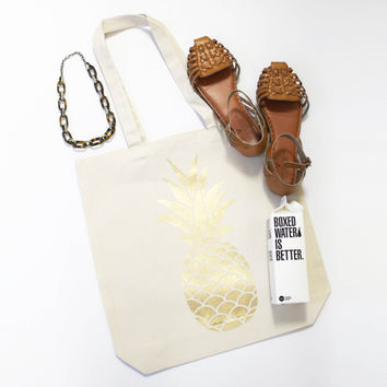 Gold Pineapple Tote Bag