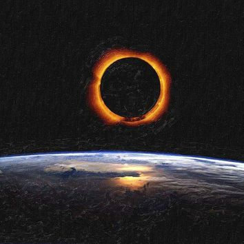 Solar Eclipse From Above The Earth Painting - Art Print