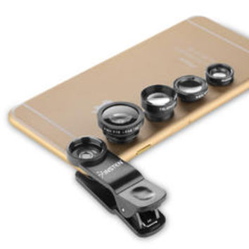 4-in-1 Universal Clip-on Lens Kit - Wide Angle/ Macro/ Fisheye/ Telephoto For iPhone Samsung HTC and More Smartphones, Black - Kmart