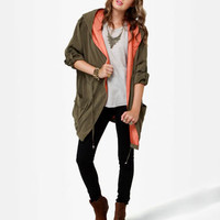 Cute Olive Green Jacket - Hooded Jacket - Drawstring Jacket