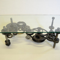 Coffee Table: Industrial Gears, Steampunk, Sculptural Table