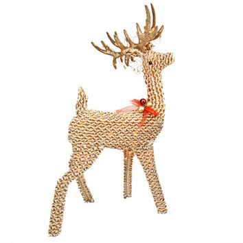 """48.5"""" Pre-Lit Brown and White Striped Chenille Reindeer Yard Art Decoration"""