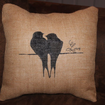 "Burlap Pillow Cover 12"", Lovebirds, Birds on a branch, Insert included"