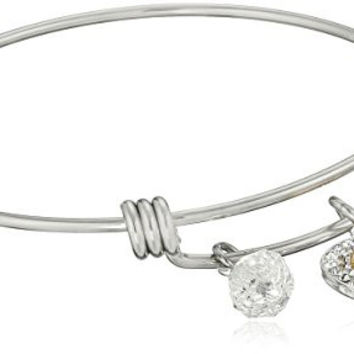 "Disney Stainless Steel Catch Bangle with Silver Plated Crystal Heart Mickey Mouse Head, ""My Heart Belongs to You"""", and Crystal Bead Charm Bangle Bracelet"