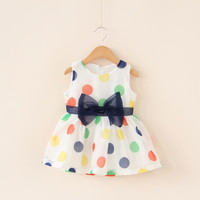 2017 Baby Girl Dress Baby Summer Sleeveless Bow Dot Chiffon Dress Infant Baby Cute Fashion Clothing Baby 1st Birthday Dress