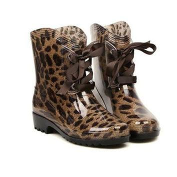 ONETOW Leopard Print Rain Boots With Lace-Up